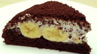 Рецепт шоколадно-бананового торта Кротова нора